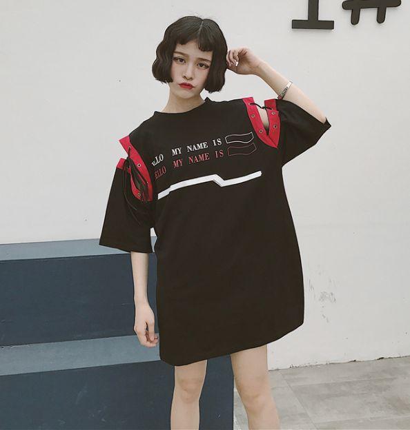 原宿系袖レースアップTシャツ
