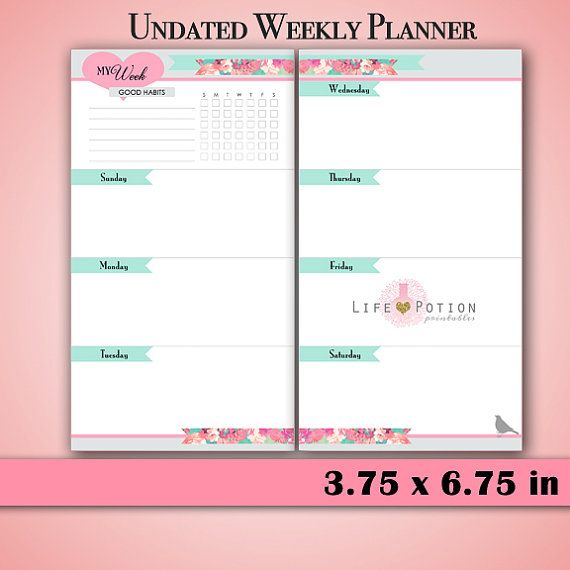 Planner Printable - Weekly Inserts - Undated - Filofax ...
