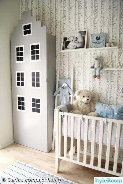 Baby Room - wonderful! Love the use of wallpaper.