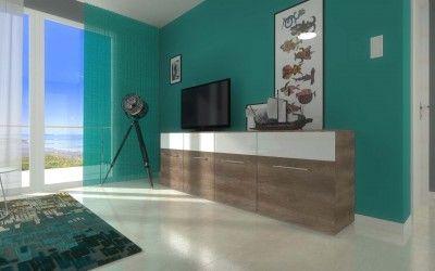 Projekt wnętrza apartamentu w Darłówku - widok na salon