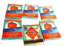 6  Old Orange Crush Match Covers,  with Crushie, Syrup Line Glass &  Dispenser