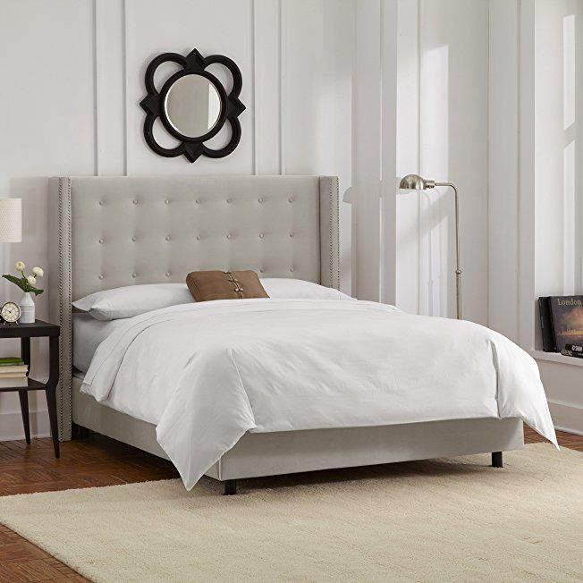 Best Skyline Furniture Nail Button Tufted Wingback Queen Bed In 400 x 300