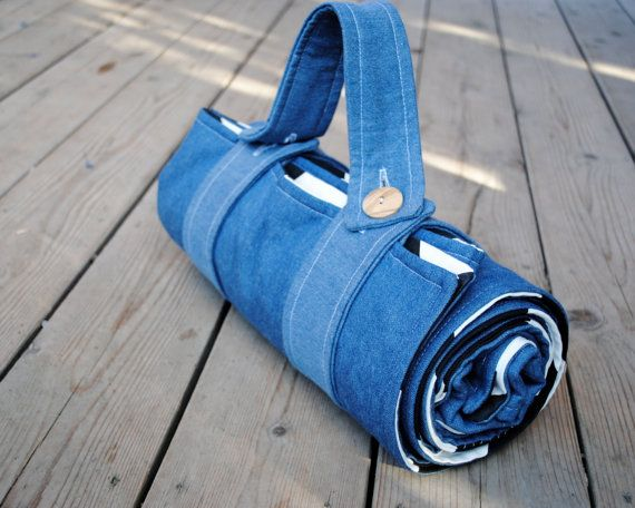 Portable waterproof picnic blankets from Sewn Natural - love that they fold up into these easy-to-carry rolls.