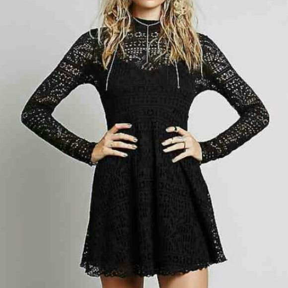 FreePeople Dinner Date Dress Flirty Fit and flare, lace mini dress. Pearl buttons down the back. New without tags. *TradeV-$88 Free People Dresses Mini