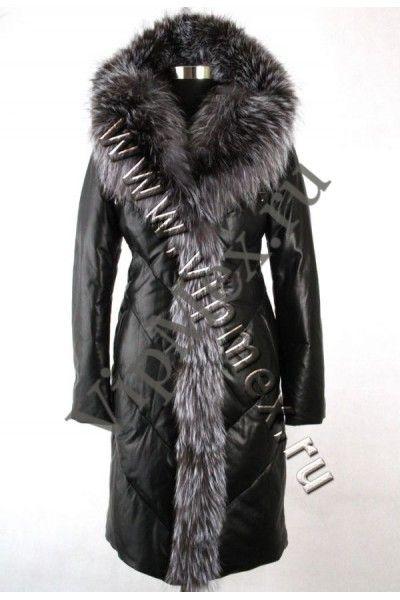 Женская кожаная куртка с мехом (12206-5)