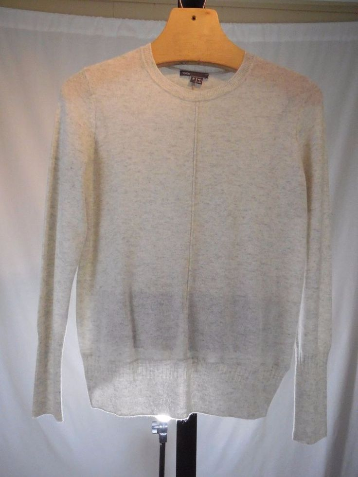 MISSES SMOKE GRAY 100% CASHMERE SWEATER VINCE M V214575607 $325 #Vince #Crewneck