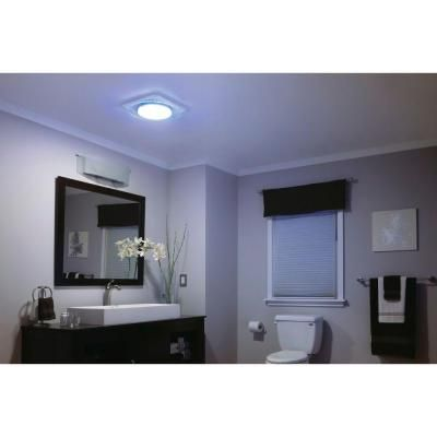 Lunaura Round Panel Decorative White 110 Cfm Exhaust Bath Fan With Light And Blue Led Night
