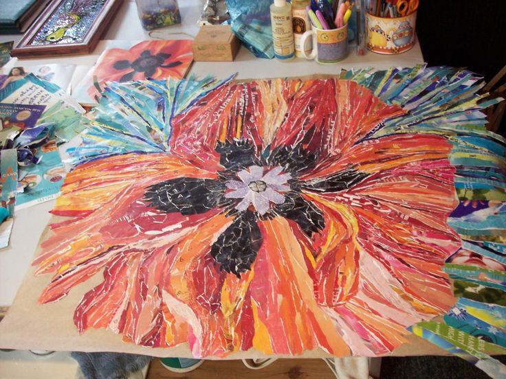 Paper mosaic poppy. Art Studio Schedule