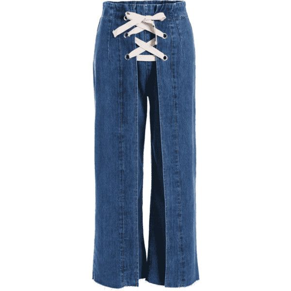 Denim Lace Up Wide Leg Jeans (1,820 DOP) ❤ liked on Polyvore featuring jeans, zaful, lace up jeans, blue denim jeans, blue jeans, wide leg jeans and denim jeans