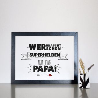 Statement-Poster Superhelden Papa Din A4