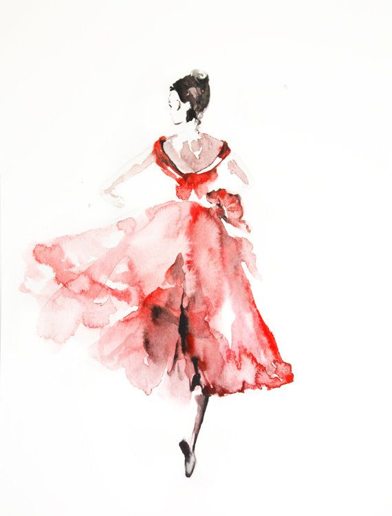 Ballerina Original Watercolor Painting Dancer by CanotStop on Etsy, $128.00