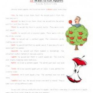 12 ways to eat apples second grade reading comprehension worksheet