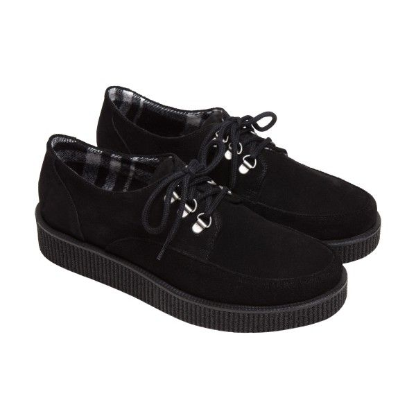agnès b. black creepers amy (460 BRL) ❤ liked on Polyvore featuring shoes, black, black rubber sole shoes, fleece-lined shoes, kohl shoes, suede shoes and black creeper shoes