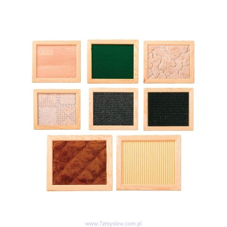 Drewniane ramki z fakturami - 8 szt. 7 Zmysłów Integracja Sensoryczna