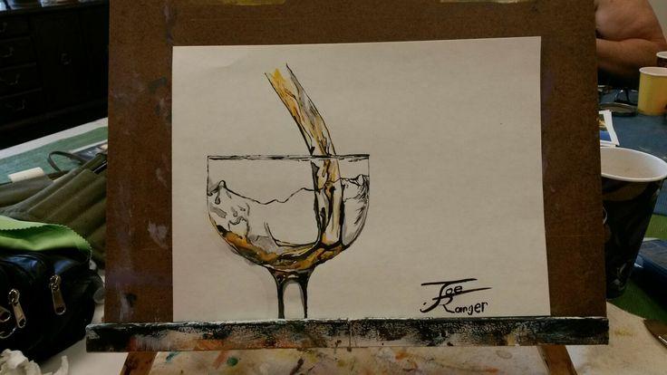 Pour #watercolour on paper 10x12