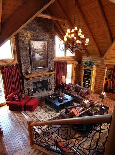 Log Cabin Living, Log Cabin Homes, Log Cabins, Log Cabin Interiors, Home  Interiors, Cabin Curtains, Red Curtains, Home Living Room, Living Spaces