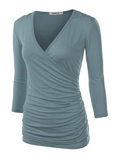 1c31ba1fb78822 TWINTH Women's Deep V Neck Tee Shirts Long Sleeve Cute Unique Cross Wrap  Tops Plus Size Denimblue XX-Large
