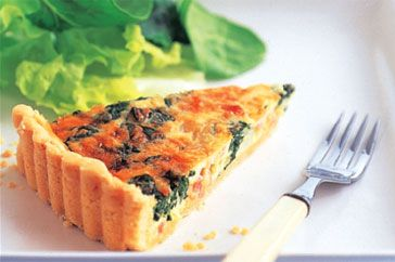 Spinach, bacon and parmesan quiche main image