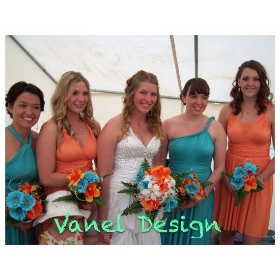 Bridesmaids showing off 2 wedding colors with coordinating bouquets!  I think this would look great if the orange/peach was substitute for a brighter coral.  convertible infinity dress bridesmaid multiway long by VanelDesign, $78.00