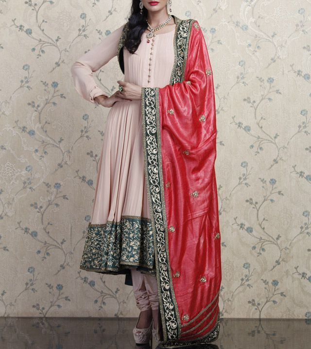 Pink Georgette Anarkali Suit with Resham Work