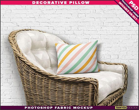 12x16 decorative pillow cotton fabric photoshop fabric mockup m1 1216 1 cushion on white basket armchair smart object custom colors