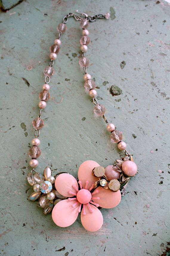 Pink Necklace, Statement Necklace, Assemblage Art, Flower Necklace, Vintage, Recycled Jewelry, Wedding Jewelry, Upcycled Recycled, Crystal