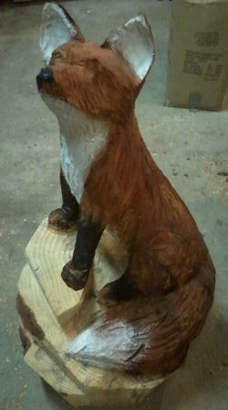 Chainsaw Carving of Fox -2 - in progress