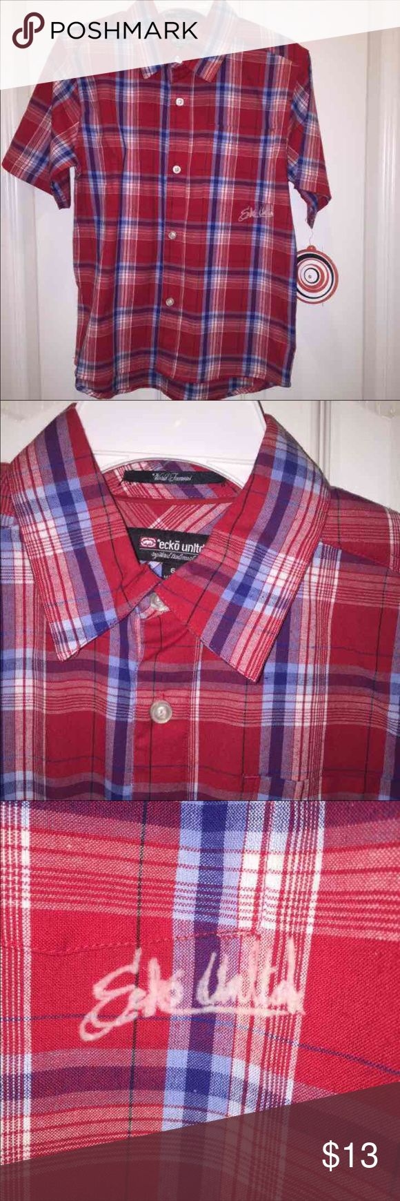 Ecko Unltd 6 Boys Red plaid shirt NWT Ecko Unlimited  boys size 6  red plaid shirt sleeved shirt button down with collar.   New with tags.   Dillards POP label.   Retails $30.   New with tags.   Smoke free home.   This closet does NOT trade Ecko Unlimited Shirts & Tops Button Down Shirts