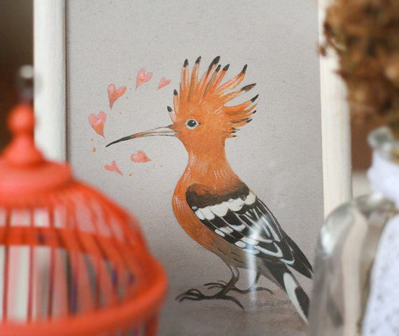 Picture with hoopoe in lovevalentine giftupupa by SkadiaArt