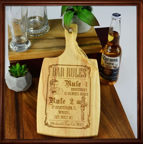Engraved Barware Wooden Cheese Serving Chopping Paddle Board