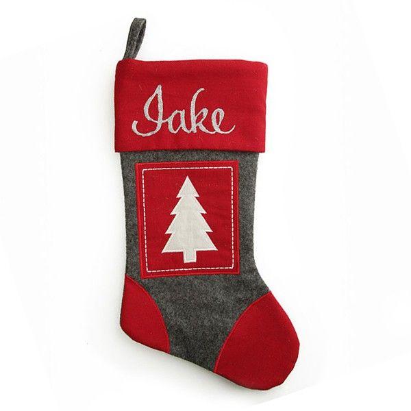 Personalised Stocking   Grey and Red Tree Felt Stocking