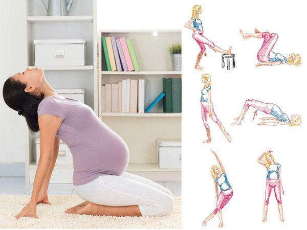 Practica esta tabla de estiramientos cada mañana para llevar un #embarazo saludable.