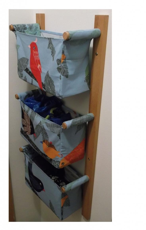 Fali tároló | 3 rekeszes | Kék alapon színes madarak, Otthon, lakberendezés, Bútor, Tárolóeszköz, Meska