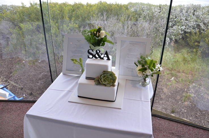Simple black and white cake with succulents.