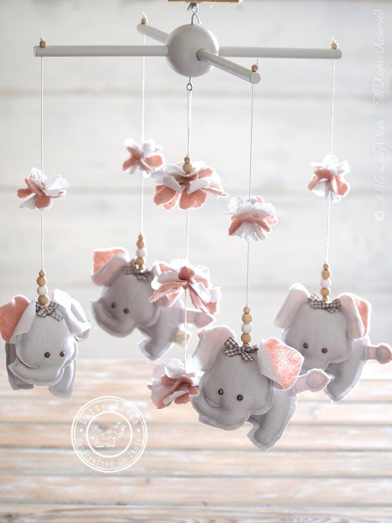 Grey & Pink Nursery Mobile Elephant, Grey Pink Elephant Mobile, Pink and Grey…