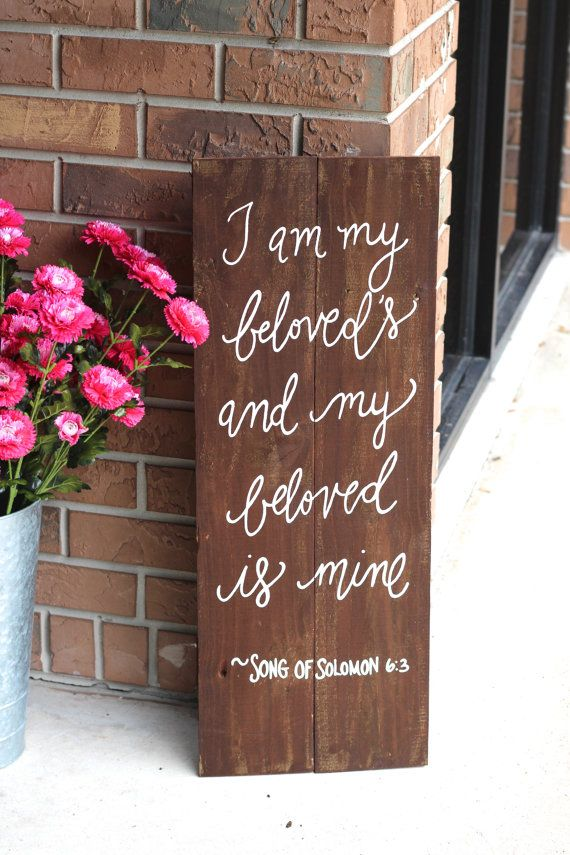 "Rustic Wooden Wedding Sign – ""My Beloved"" – Bible Verse Sign – Wedding Keepsake"