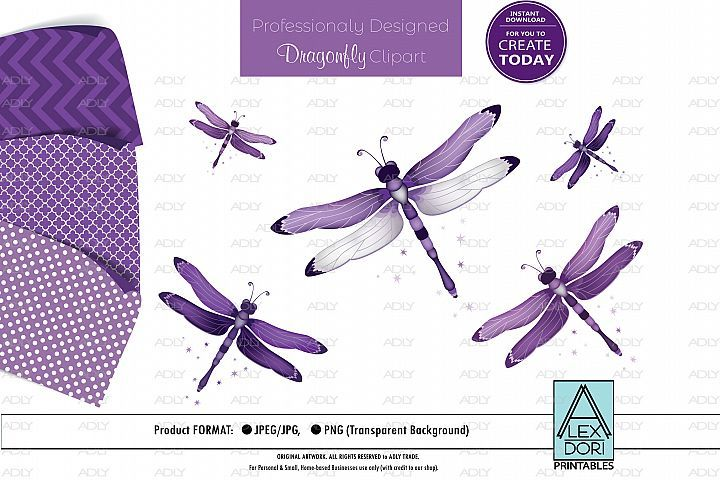 Purple Dragonfly Png Clipart Set 409023 Illustrations Design Bundles Clip Art Illustration Design Dragonfly