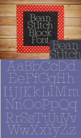 5 sizes included: .75 inch, 1 inch, 1.25 inch, 1.5 inch and 2 inch Embroidery Bean Stitch Block Font Designs by JuJu
