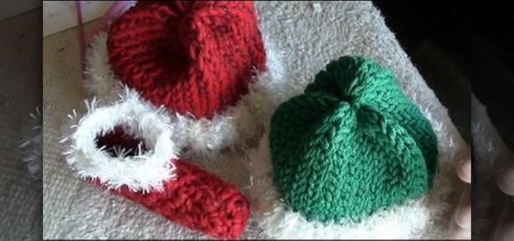 Loom Knit Baby Hat Tutorial : How to loom knit elf and santa hats for babies baby