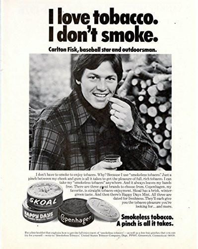"Vintage Skoal Tobacco Magazine Ad- Carlton Fisk "" I love tobacco. I don't…"