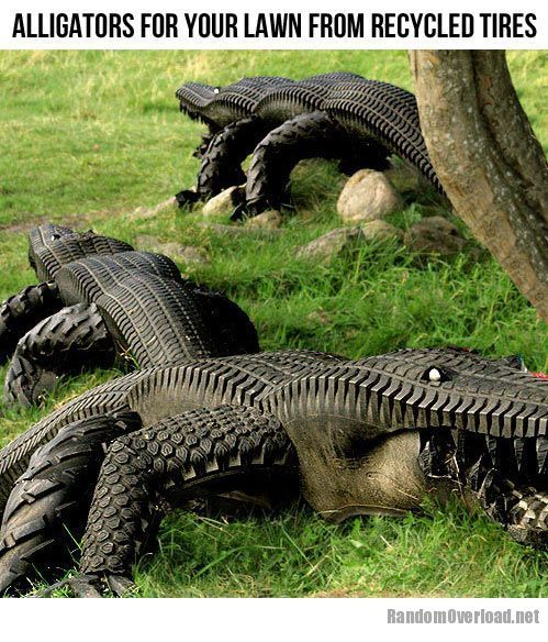 Alligators from recycled tires!  I thought these were real at first glance!  I have seen that many gators lounging in one place in the Everglades.