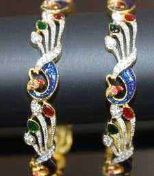 Buy Gold Plated Stone work Designer Bangles bangles-and-bracelet online