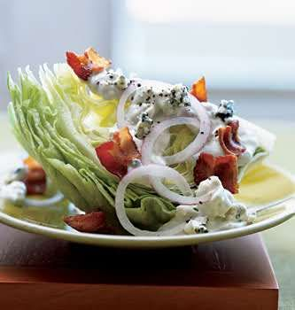 Iceberg Wedge with Warm Bacon and Blue Cheese Dressing | Recipe