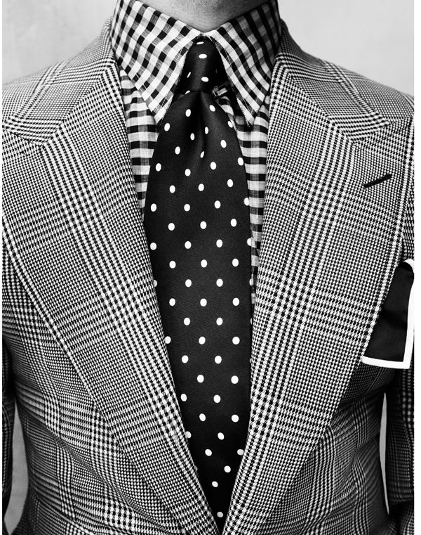 Tom Ford check suit and shirt. Probably better with a plain black tie!