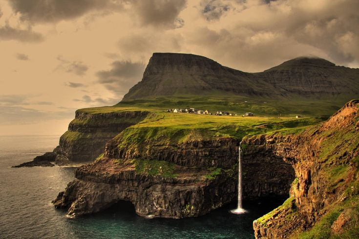 Faroe Islands - waterfall into the sea