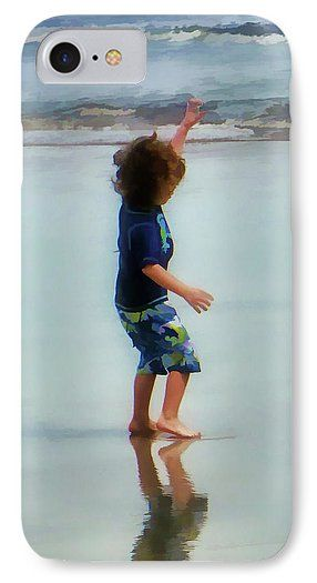 Boy IPhone 7 Case featuring the photograph Boy Dancing On Beach by Kevin Anderson A young boy joyously dancing on a wet Florida beach as the waves come in. The photograph has been manipulated into a pastel photo-painting for a soft dreamy like feel.
