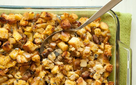 This rich, full-flavored stuffing is a show stealer, whether stuffed in a turkey or baked on its own. For a vegetarian version, use vegetable broth instead of chicken broth and substitute vegetarian sausage or a few cups cooked shiitake mushrooms for the meat sausage.