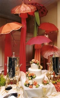 Umbrella cake table backdrop....too beautiful.