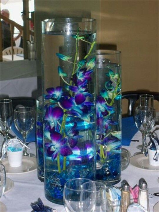 purple blue orchids centerpiece