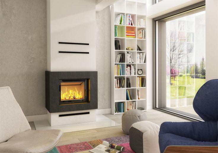 Eleganckie kominki nowoczesne - Hajduk, kominek na bazie wkładu Smart XLT #dom #książki #interior #design #kominki #kominek #wnętrze